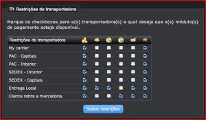 Restrições de transportadora
